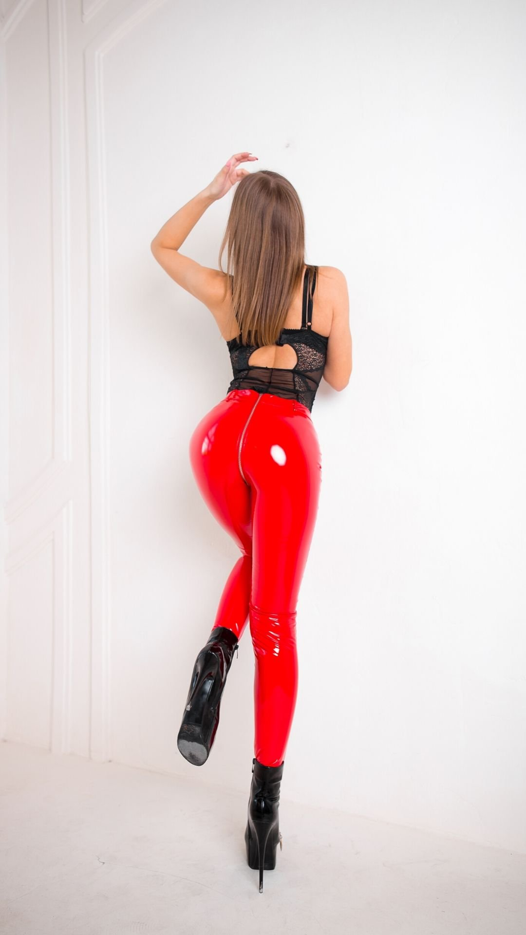 Shiny-Zipper-Leggings-Red